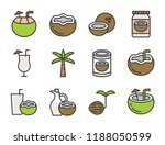 cute coconut related  filled... | Shutterstock .eps vector #1188050599
