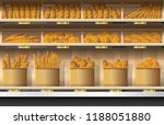 different kinds of bread... | Shutterstock .eps vector #1188051880