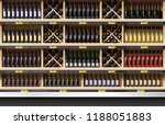 various bottles of wine display ... | Shutterstock .eps vector #1188051883