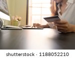 woman hands using computer for... | Shutterstock . vector #1188052210