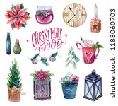 watercolor cozy christmas set | Shutterstock . vector #1188060703