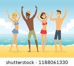 happy friends on the beach  ... | Shutterstock . vector #1188061330