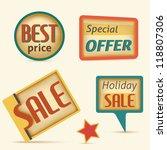 set of retro labels sale | Shutterstock .eps vector #118807306