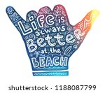 colorful surfers shaka hand... | Shutterstock .eps vector #1188087799
