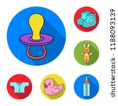 birth of a baby flat icons in...   Shutterstock . vector #1188093139
