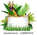Cute Giraffe With Blank Sign...