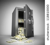 bank safe with money stacks | Shutterstock . vector #118810000