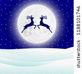 reindeer jumps against the... | Shutterstock .eps vector #1188101746