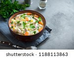 chicken and wild rice soup.... | Shutterstock . vector #1188113863