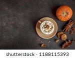 pumpkin spice latte. cup of... | Shutterstock . vector #1188115393