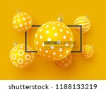 christmas yellow baubles with... | Shutterstock .eps vector #1188133219