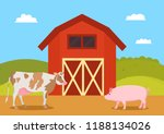 cow and pig swine on farm....   Shutterstock .eps vector #1188134026