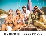smiling friends sitting on...   Shutterstock . vector #1188144076