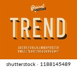 vintage 3d sans serif condensed ... | Shutterstock .eps vector #1188145489