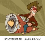 biker cowboy on a motorcycle... | Shutterstock .eps vector #118815730