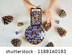 flat lay. girl takes mobile... | Shutterstock . vector #1188160183