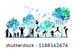 abstract blue park with trees... | Shutterstock .eps vector #1188162676