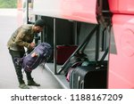 traveler man put backpack to... | Shutterstock . vector #1188167209