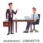 business meeting cartoon | Shutterstock .eps vector #1188182770