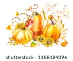 pumpkins composition. hand... | Shutterstock . vector #1188184096