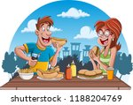 couple of cartoon people eating ... | Shutterstock .eps vector #1188204769