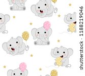 cute baby elephants with... | Shutterstock .eps vector #1188219046