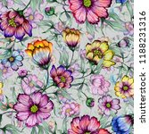 beautiful colorful cosmos... | Shutterstock . vector #1188231316