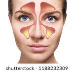 female face shows nasal sinus... | Shutterstock . vector #1188232309