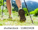 Woman Hiking In Mountains ...