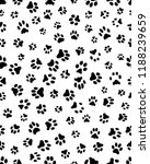Stock vector seamless prints of paws of dog on a white background 1188239659