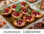 fruit tart with raspberries and ... | Shutterstock . vector #1188264460