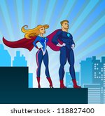 superhero couple  male and... | Shutterstock .eps vector #118827400