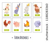 8 vector cards with cute farm... | Shutterstock .eps vector #1188283360