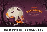 halloween banner with orange... | Shutterstock .eps vector #1188297553