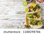 healthy corn tortillas with...   Shutterstock . vector #1188298786