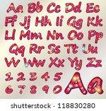 red sequin alphabet on textile...