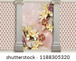 3d background with columns ...   Shutterstock . vector #1188305320