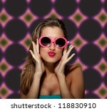 attractive female with glasses... | Shutterstock . vector #118830910