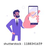 handsome businessman showing... | Shutterstock .eps vector #1188341659