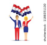 netherlands flag waving man and ... | Shutterstock .eps vector #1188351130