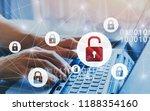 hacker attack and data breach ...   Shutterstock . vector #1188354160
