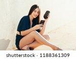 young beautiful woman enjoying... | Shutterstock . vector #1188361309