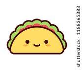 vector cartoon cute happy taco... | Shutterstock .eps vector #1188365383