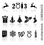 Set of black Christmas icons, illustration - stock vector