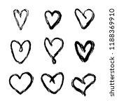 set of nine hand drawn heart.... | Shutterstock .eps vector #1188369910