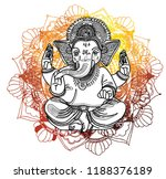 ganesha is a god. the head of... | Shutterstock .eps vector #1188376189