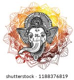 ganesha is a god. the head of... | Shutterstock .eps vector #1188376819