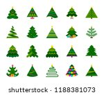 christmas tree flat icons set.... | Shutterstock .eps vector #1188381073