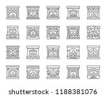 fireplace thin line icons set.... | Shutterstock .eps vector #1188381076