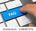faq pushing keyboard with...   Shutterstock . vector #1188387376